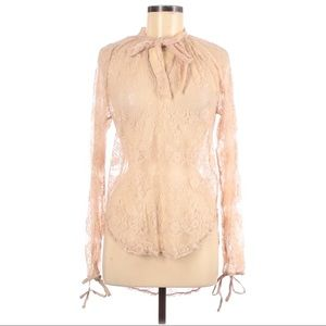 Bishop + Young Tie Lace Long Sleeve Blouse M